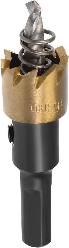 sourcing map taladro metal HSS de 16mm para sierras de corona de Acero Inoxidable de Aleaci/ón de metal