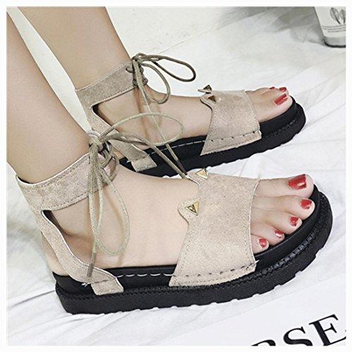 - vermers Women Shoes Clearance - Summer Fashion Style Sandals Flat Waterproof Bandage Cute Girl Sandals(US:7, Khaki)