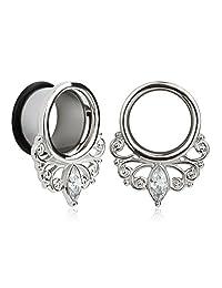 KUBOOZ(1 Pair) Simple Elegant White Zircon O-ring Ear Plugs Tunnels Gauges Stretcher Piercings
