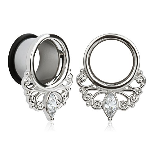 Gem Plugs - KUBOOZ(1 Pair Simple Elegant White Zircon O-Ring Ear Plugs Tunnels Gauges Stretcher Piercings
