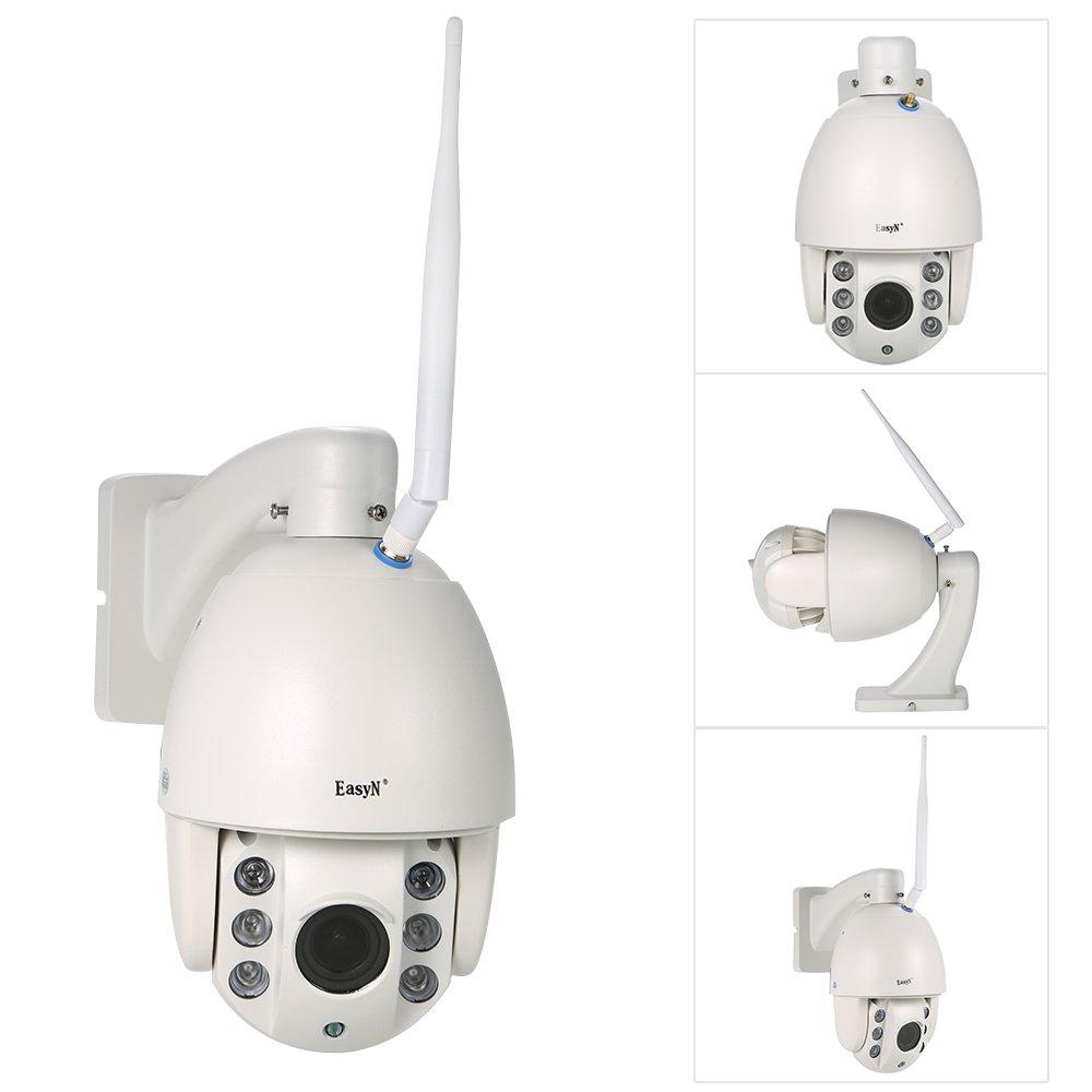 EasyN 1080P PTZ IPカメラ HD ワイヤレス 2.812mm 5倍光学変焦 1 / 2.7 '' CMOSセンサー IRランプ6個【16G TFカード内蔵】防水仕様ナイトビジョンモーション検知 B075MC6SM5