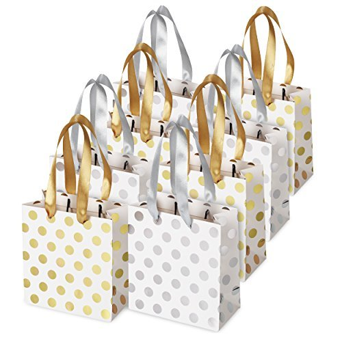 Small Gift Bags for Bridal, Wedding, Birthday, Christmas Holidays Graduation Wedding Showers, Small (Gold Silver Metallic Dots 8 Pack) ()