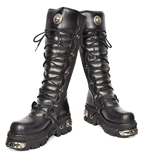 Femmes Gothique Semelle Genou Cuir A1272S1 Réacteur Chaussure Boucle Longueur Noir en Rock Bottes New 6PqTwrZ6