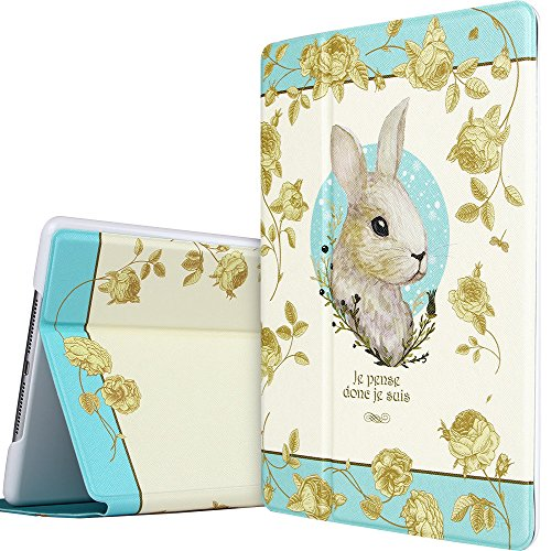 iPad Air 2 Case, ESR Illustrators Series Folio Case Smart Case with Stand Smart Cover [Auto Wake Up/Sleep Function] for iPad Air 2/ iPad 6 [2014 Release](Miss Alice Bunny)