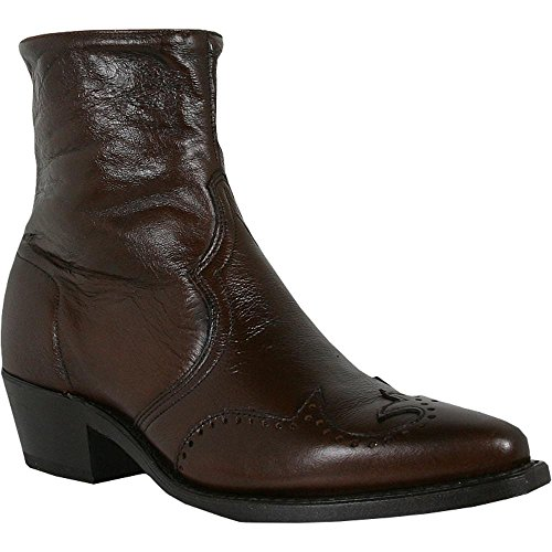 Abilene Men's Western Wingtip Zipper Boot Chocolate 9 D(M) US Abilene Boots