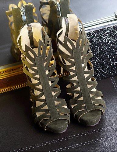 LFNLYX Chaussures Femme-Mariage / Habillé / Décontracté / Soirée & Evénement-Noir / Vert / Rouge-Talon Aiguille-Talons-Sandales-Laine synthétique , green , us6 / eu36 / uk4 / cn36