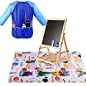 BA-SAFE Kids Painting Drop Cloth Washable with France Attractions Pattern for Art Easel +Long Sleeve Children`s Art Smock Waterproof Painting Apron (Blue)の商品画像
