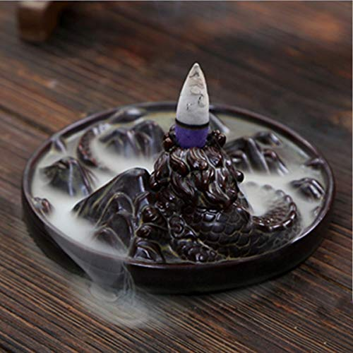 Jeteven Ceramic Dragon Backflow Incense Burner + 10 Incense Cones Dragon Incense Burner Holder Handicraft Gift