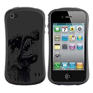 Suave TPU GEL Carcasa Funda Silicona Blando Estuche Caso de protección (para) Apple Iphone 4 / 4S / CECELL Phone case / / Wolf Teeth Dog Wild Animal Forest Drawing Pencil /