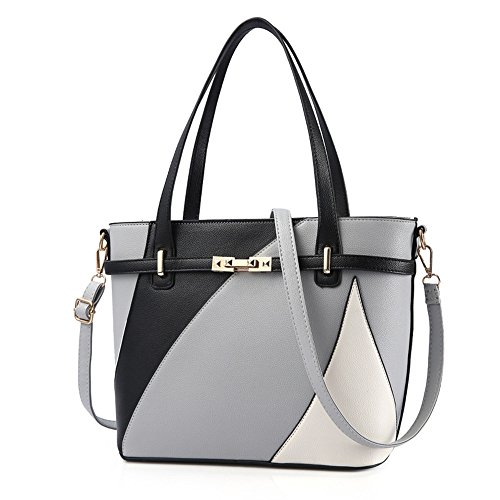 Meaeo Bolso De Moda Europea Señoras Bolso De Mano Gran Bolso Messenger Bag,Negro Gray