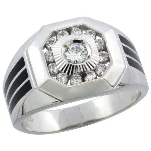 Sterling Silver Men's Black Onyx Stripe Octagon Ring w/CZ Stones, 9/16 in. (14mm) Wide, Size 13