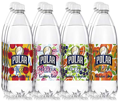 Polar 100% Natural Seltzer 12 x 1L (33.8 Fl oz) - Summer Variety - (Raspberry Rosé, Blueberry Tangerine, Pineapple Lemon, Cucumber Melon)