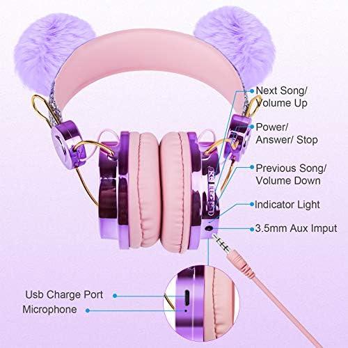 Kids Headphones Wireless POM POM Bear Ear 2021 Upgraded Bluetooth Headset w/Mic Adjustable Headband, Over On Ear Headset for Girls/Teens/School/Kindle/Tablet/PC (Bluetooth, Purple) (Purple)