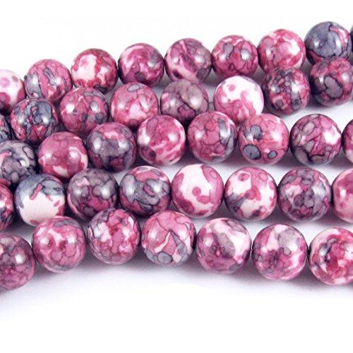10mm Mauve, Gray and Light Pink Rain Flower Stone Round Beads 15