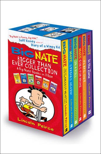 Image of the Big Nate Series Collection Lincoln Peirce 6 Books Box Set Gift Pack (Big Nate on a Roll, Goes for Broke, the Boy with the Biggest Head in the World, Strikes Again, Flips Out, in the Zone)