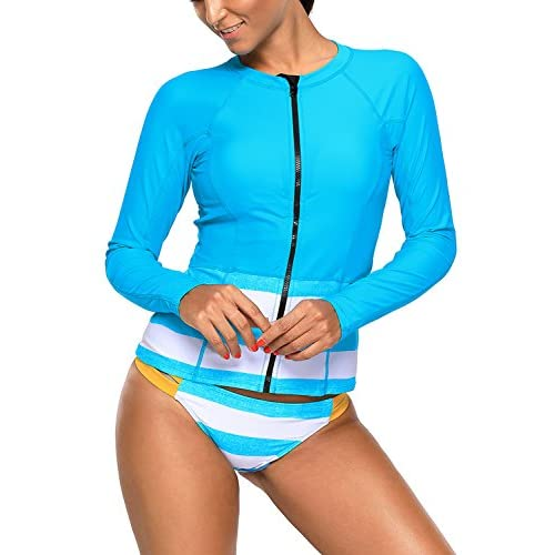 FIYOTE Women Contrast Color Long Sleeved Zip Front Rashguard Tankini Set Swimsuit S-XXL for sale
