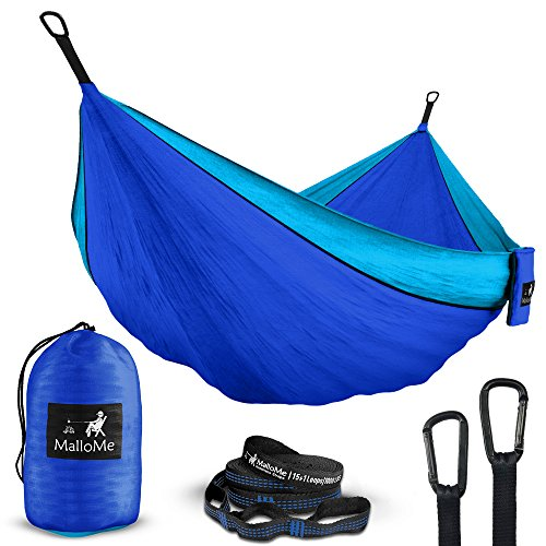 Double & Single Portable Camping Hammock - Parachute Lightweight Nylon with Hammok Tree Straps Set- 2 Person Equipment Kids Accessories Max 1000 lbs Breaking Capacity - Free 2 Carabiners