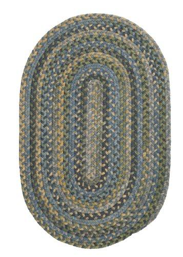 Rustica Braided Rug, 2 by 3', Whipple Blue Blue Braided Wool Rug