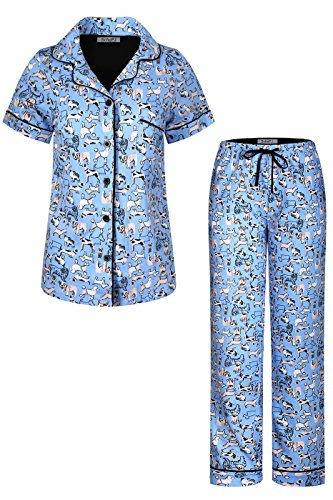 SofiePJ Women's Printed Cotton Short Sleeve Notch Collar Button-Down Pajama Shirt & Long Pants Set Blue L (Pants Pajamas Shirt)