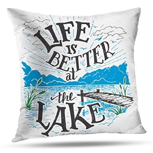 KJONG Lake Life Zippered Pillow Cover,16X16 inch Square Decorative Throw Pillow Case Fashion Style Cushion Covers(Two Sides Print)
