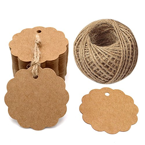 - 100PCS Brown Craft Scalloped Paper Gift Tags with 100Feet Natural Jute Twines for Birthday Party, Wedding Decoration Gifts, Arts & Crafts