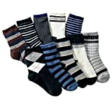 Boys Short Socks Fashion Stripe Cotton Basic Crew Kids Socks 10 Pair Pack