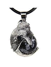 Amandastone Healing Chakra Gemstone Crystal Elephant Charm Pendant Necklace 20''