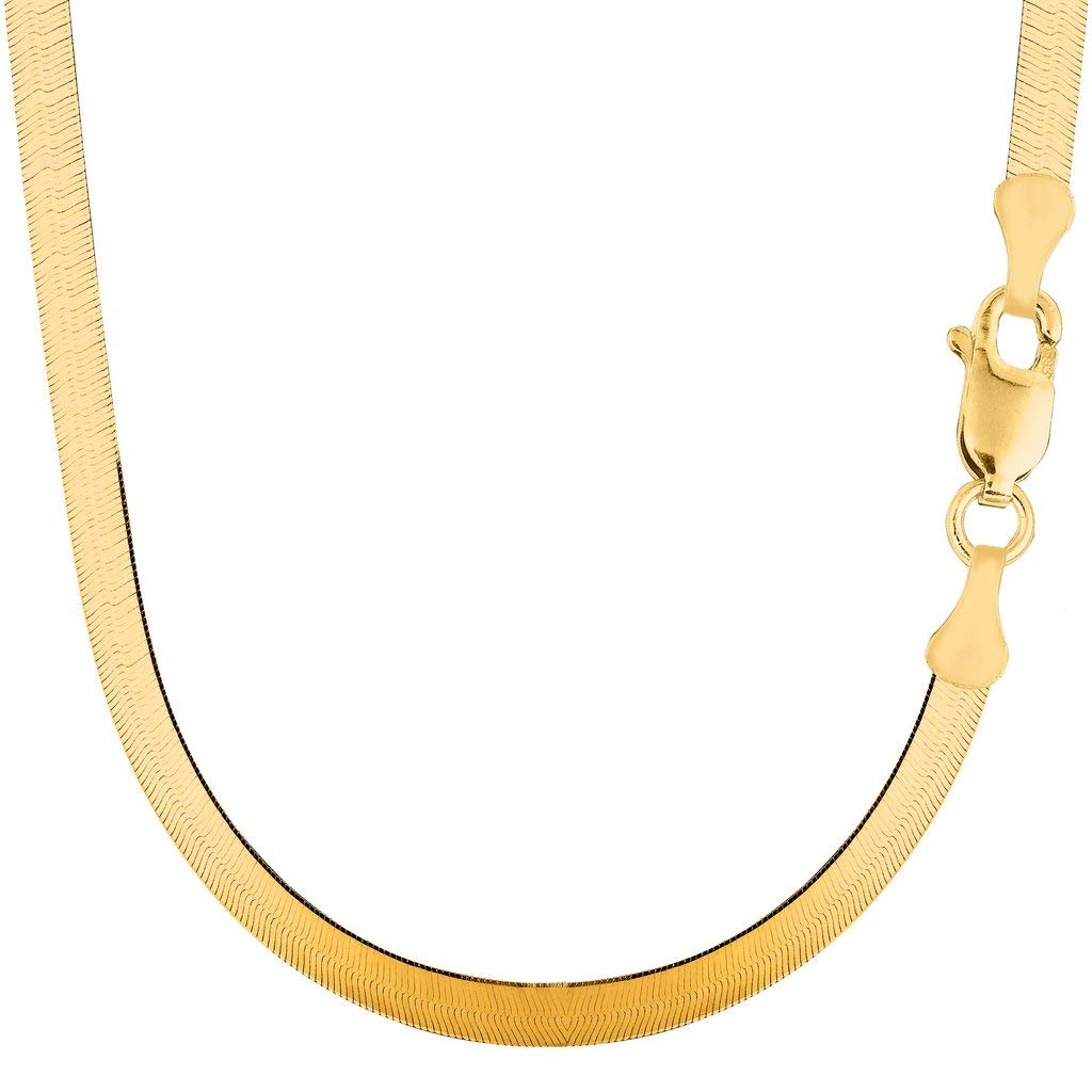 14K Yellow Gold 6.00mm Shiny Imperial Herringbone Chain Necklace or Bracelet for Pendants and Charms with Lobster-Claw Clasp (7'', 8'', 16'', 18'' 20'' or 24 inch)