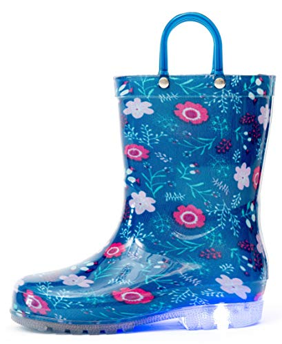 Outee Girls Kids Toddler Rain Boots Light Up Printed Waterproof Shoes Lightweight Cute Flower Blue with Easy-On Handles and Insole (Size 1,Blue)