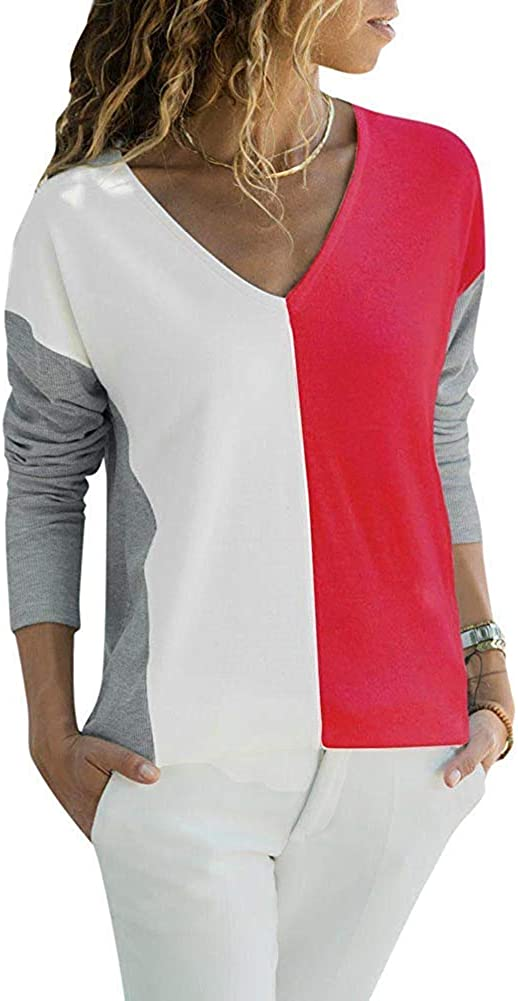 Atease Women T-Shirt Ribbed Color Block Splicing V Neckline Dropped Shoulder Long Sleeve Loose Casual Pullover