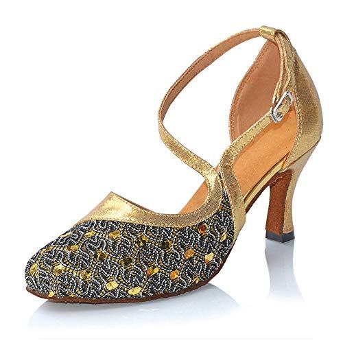 Shangyi Zapatos de Baile Latino de otoño e Invierno para Mujeres, Zapatos de Danza Moderna, Zapatos de Baile Cuadrados, tacón