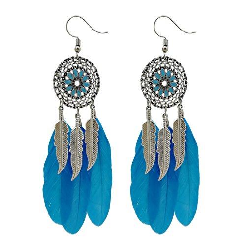 AIHIQI Fashion Flower Long Leaf Bead Feather Tassel Dangle Earrings for Women Girl Party Gift (Blue)