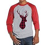 Custom Party Shop Mens Plaid Deer Christmas Raglan XL Red