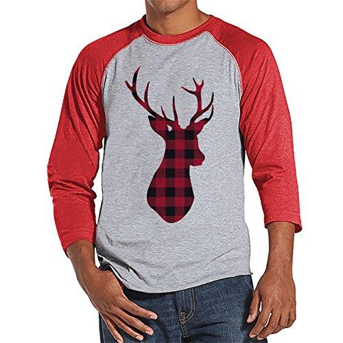 Custom Party Shop Mens Plaid Deer Christmas Raglan XL Red (Mens Christmas Party)