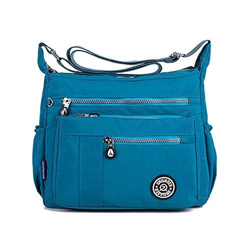 TianHengYi Womens Lightweight Nylon Cross-body Shoulder Bag Casual Messenger Bag with Zipper Pockets Sea Blue
