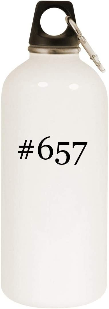 #657-20oz Hashtag Stainless Steel White Water Bottle with Carabiner, White