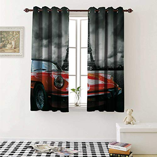 (shenglv Red and Black Waterproof Window Curtain European Honeymoon Romantic City Paris Eiffel Tower Italian Car Curtains for Party Decoration W84 x L72 Inch Charcoal Grey and)