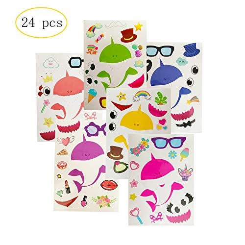 24 Pack Cute Shark Sticker Game - Fun Craft Project for Children - Shark Party Supplies