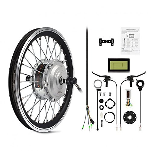 AFTERPARTZ® 24'' Electric Bike Bicycle Motor Conversion Kit Front Wheel Silver DIY PAS LCD Display (24) (Motorized Bicycle Wheel compare prices)