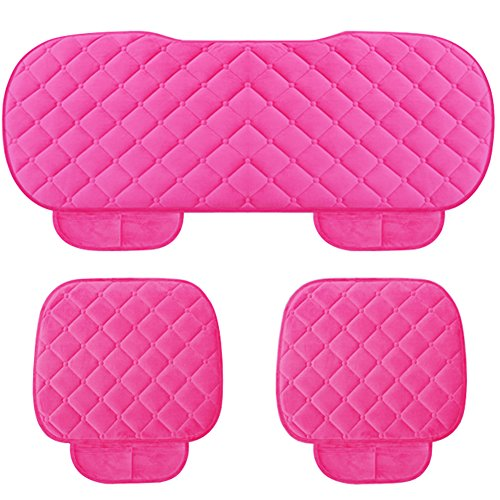 WINGOFFLY 3 Pack Thicken Front and Rear Car Seat Cushion Nonslip Car Interior Seat Cover Pad Mat Fit for Auto Vehicle, Pink