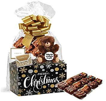 Merry Christmas Gourmet Food Gift Basket Chocolate Brownie Variety Gift Pack Box (Individually Wrapped)
