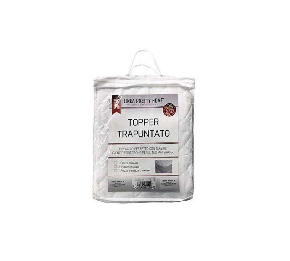 Linea Top Shop Pretty Home Topper Trapuntato Bianco Letto Matrimoniale 180x200 cm con Lacci Fissaggio