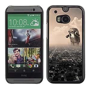 HTC One M8 - Metal de aluminio y de plástico duro Caja del teléfono - Negro - Funny Giant Domoku