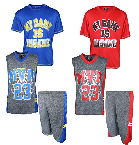 (Mad Game Boys' 6-Piece Performance Basketball Shirt and Short Set (2 Full Sets), My Game is Insane, Size 12/14')