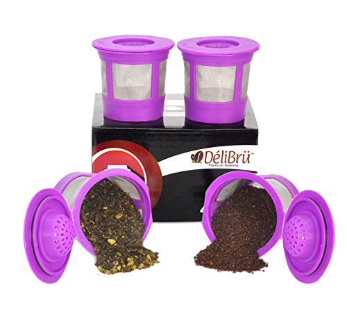 (4 Reusable K Cups for Keurig 2.0 & 1.0 Coffee Makers. Universal Refillable KCups, Keurig filter, Reusable kcup, k cup k-cups reusable filter by Delibru BPA FREE)