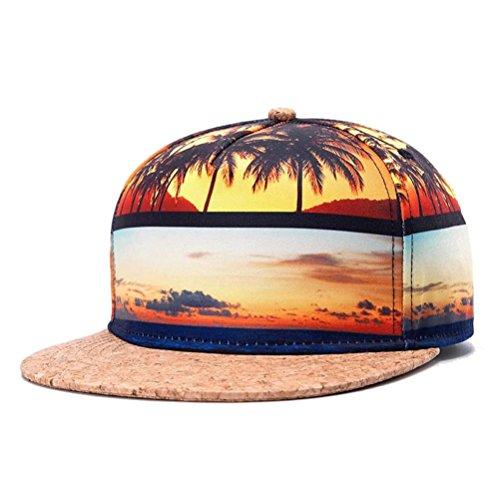 WUKE Men's Snapback,3D Beach Coco Trees Man Adjustable Hat ,Hip-Hop Bboy Baseball Cap