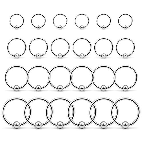 Ftovosyo Tragus Hoop Earrings Surgical Steel 14g Captive Bead Ring Lip Septum Hoops Body Piercing Jewelry for Women Men 24 Pieces 8mm 10mm 12mm 14mm