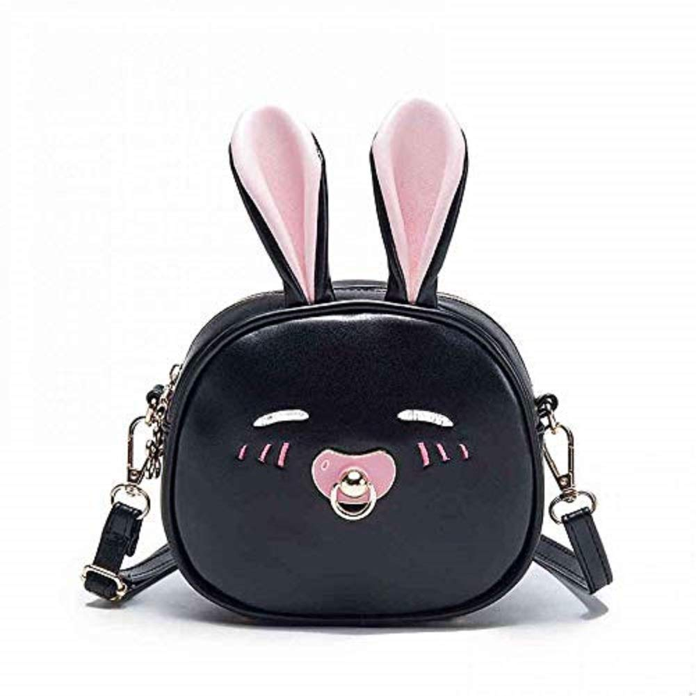 Bunny Kid Crossbody Bag Shoulder Purse Adjustable Mini Messenger Bag for Children Toddler Baby Girls (Black)