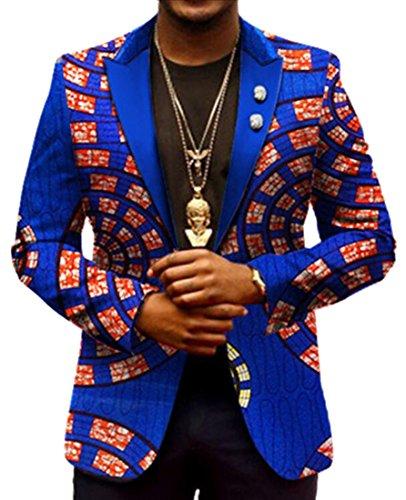 ARTFFEL-Men Casual Blazer Africa Print Lapel Dashiki Suit Jacket Coat Outwear 2 2XL by ARTFFEL-Men