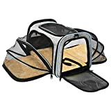 OMORC Pet Travel Carrier Airplane Approved, Foldable Pet Travel Bag with 2 Expandable Mesh Windows, 3 Open Doors and Reflective Tapes, Safe and Easy for Cats and Dogs